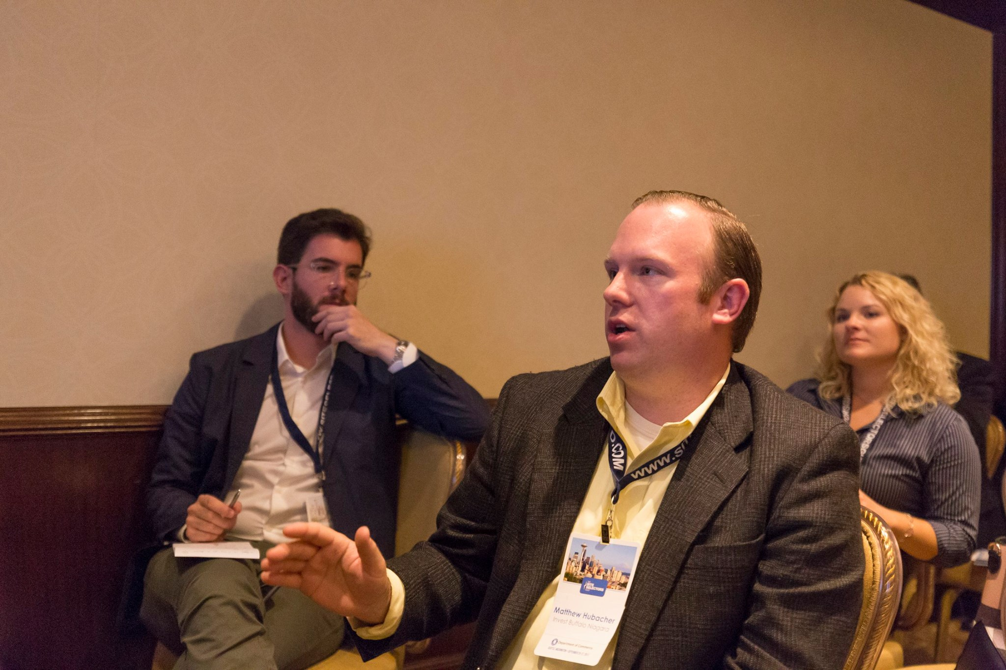 Matt Hubacher asking a thoughtful question at the Site Selectors Guild Fall Forum in Seattle.