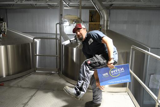 Having fun at Ellicottville Brewing Company's expansion location.